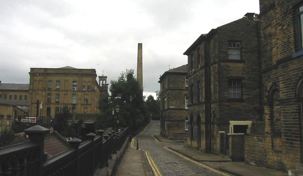 A view of Saltaire with workers' houses and the Salt's Mill chimney